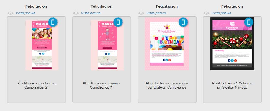 Templates de email sobre felicitaciones de MDirector