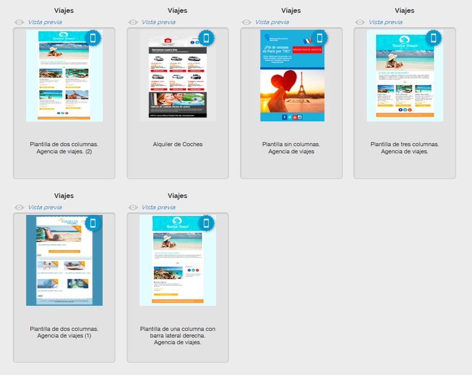 Templates de Email Marketing sobre viajes de MDirector