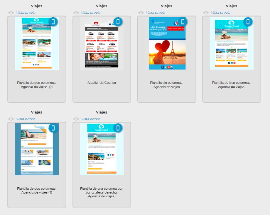 Templates de Email Marketing sobre viajes de MDirector