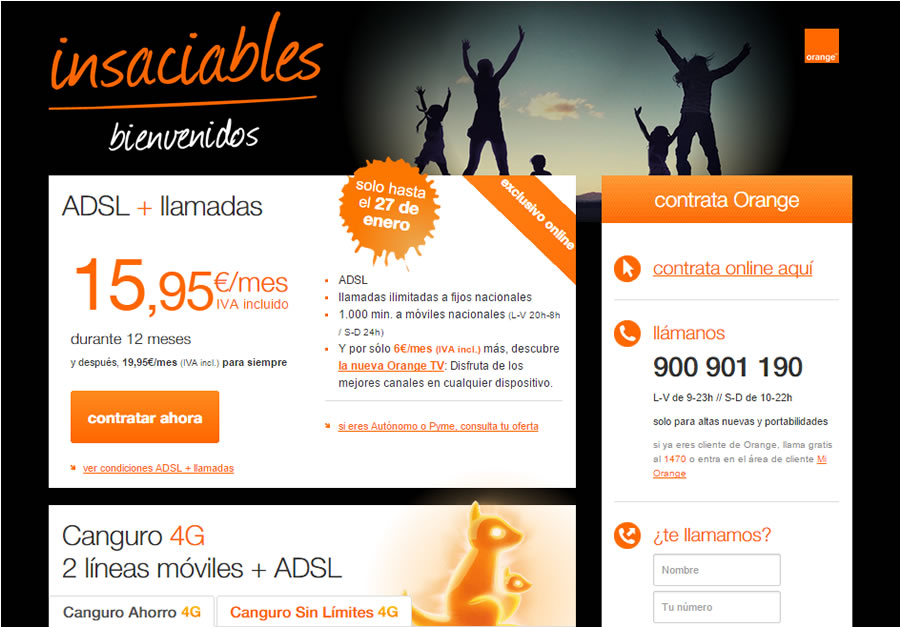 landing pages que convierten: orange