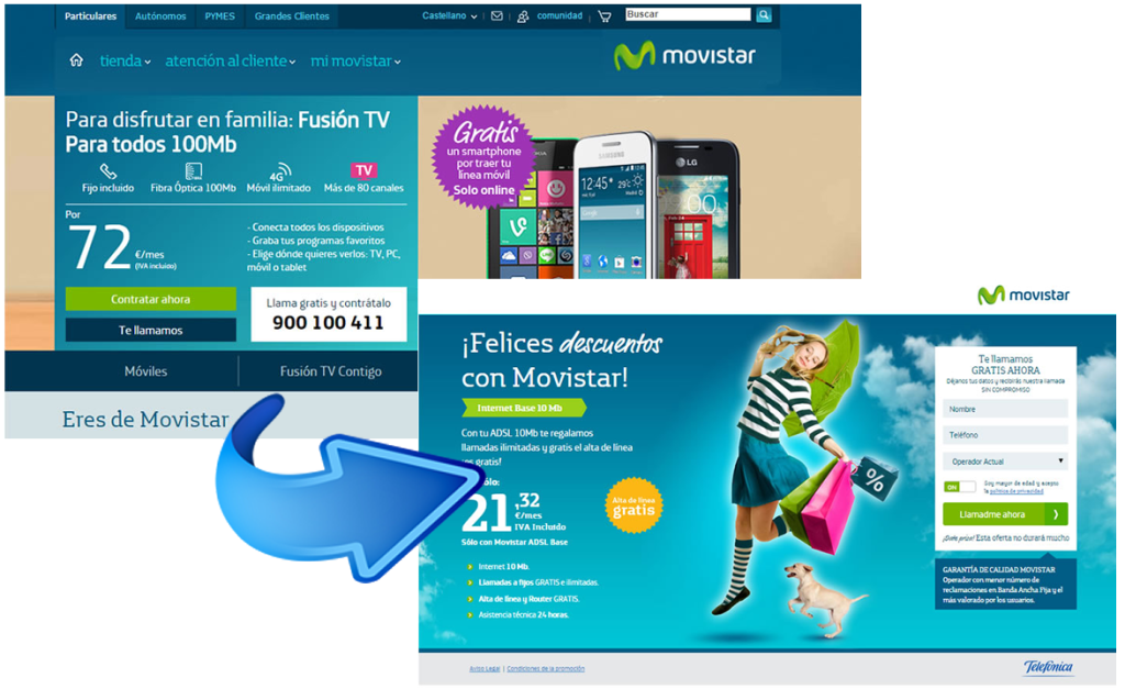 landing pages que convierten: movistar