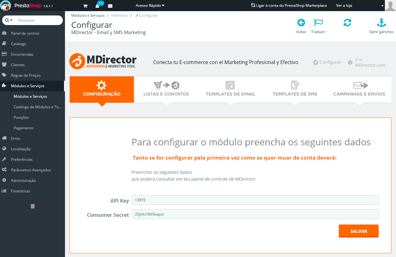 Integração com Prestashop: Configuraçao