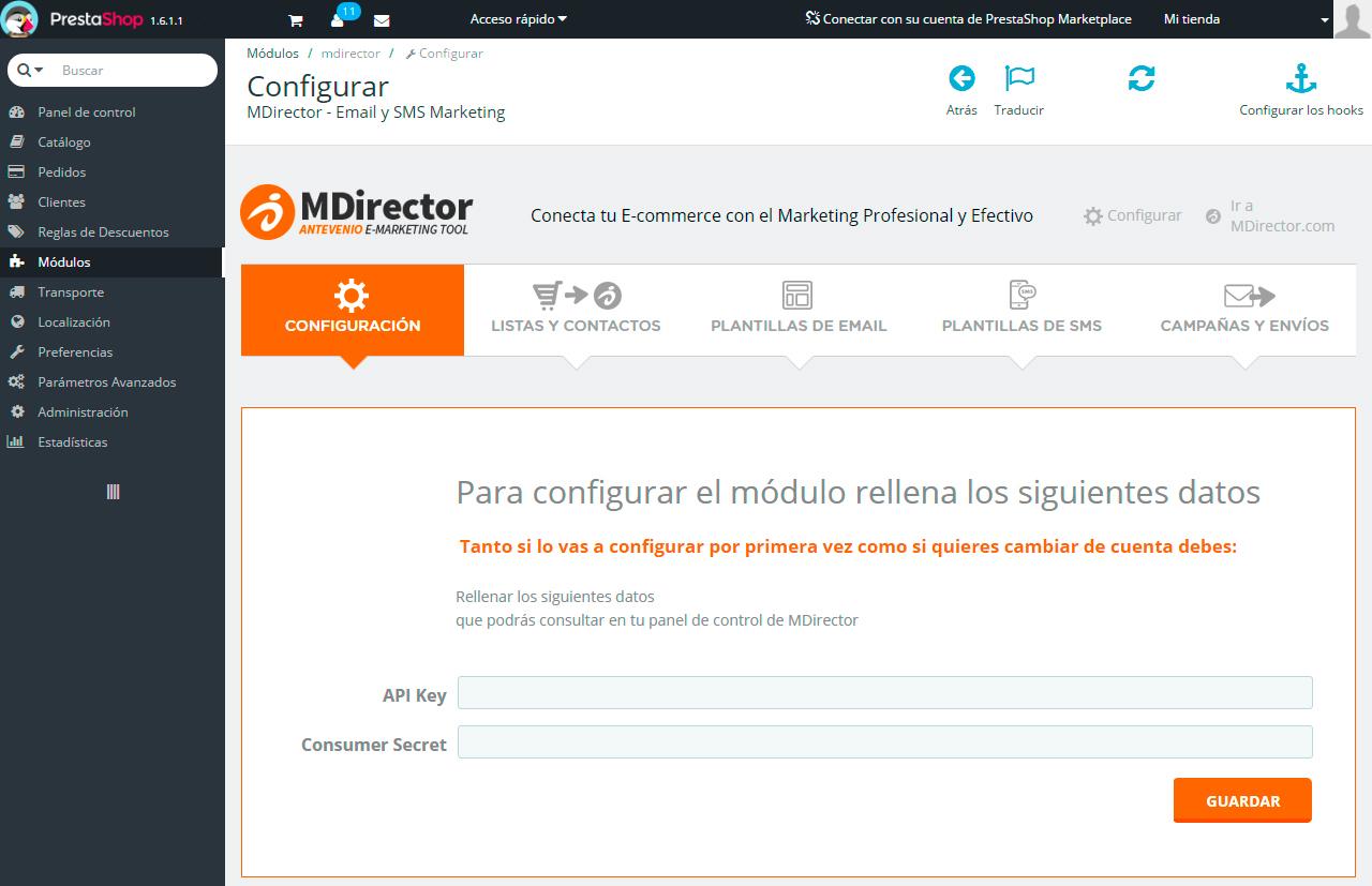 Integracion Prestashop: Configuración