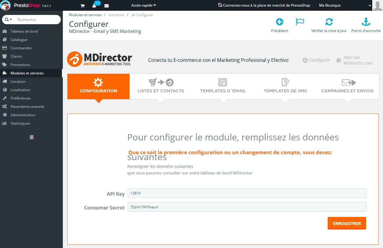 Intégration avec Prestashop: Configuration