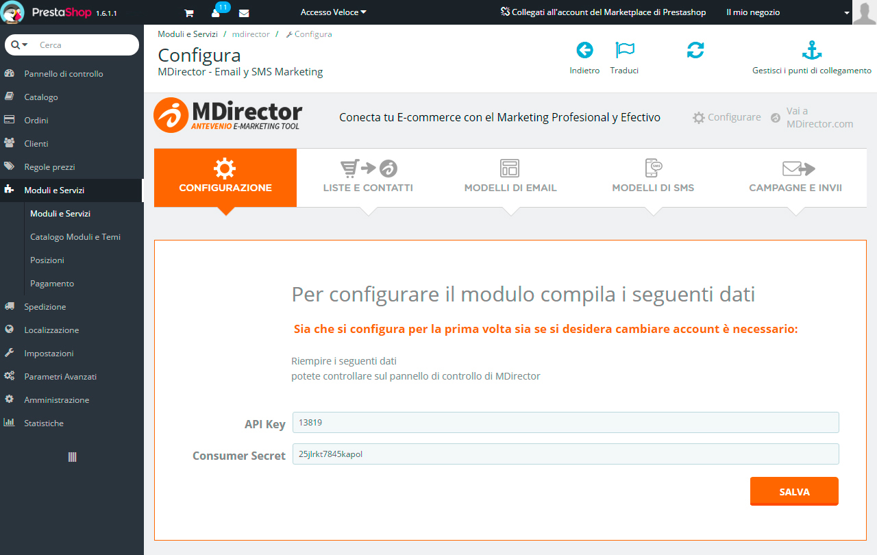 Integrazioni con Prestashop: Configurazione
