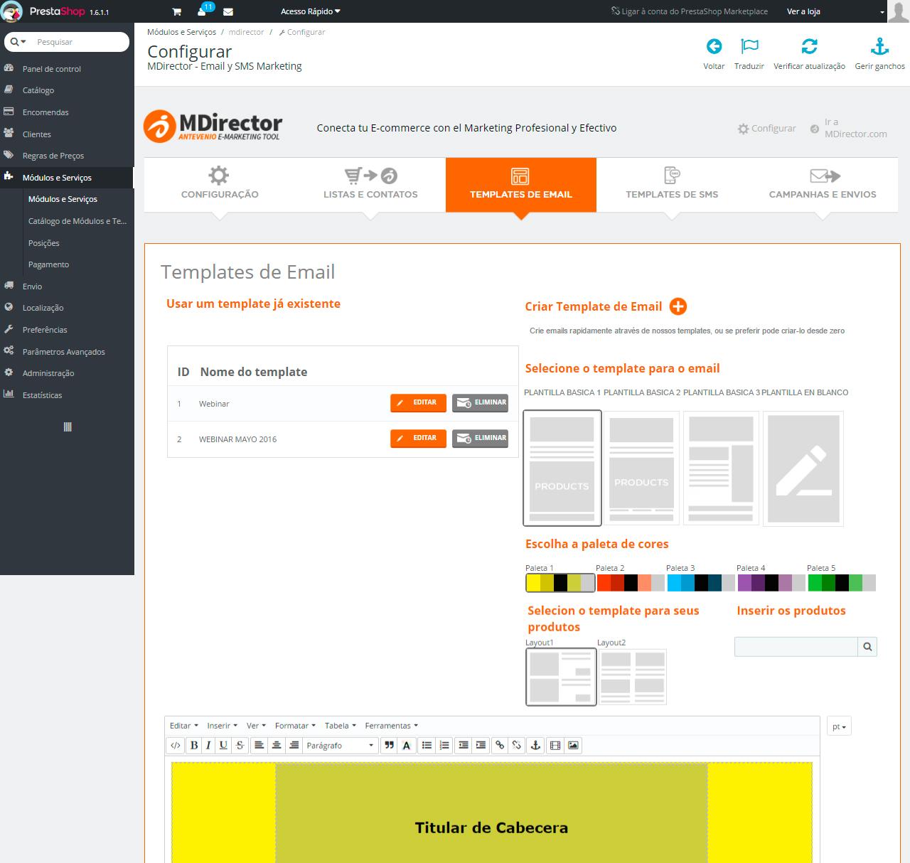 Integração com Prestashop: Criação de campanhas Email Marketing e SMS