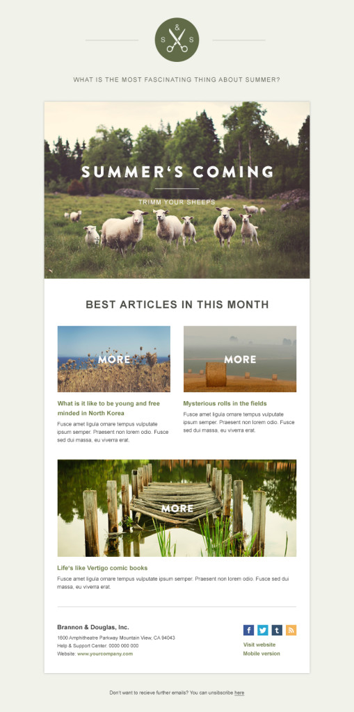 templates de newsletters: green village