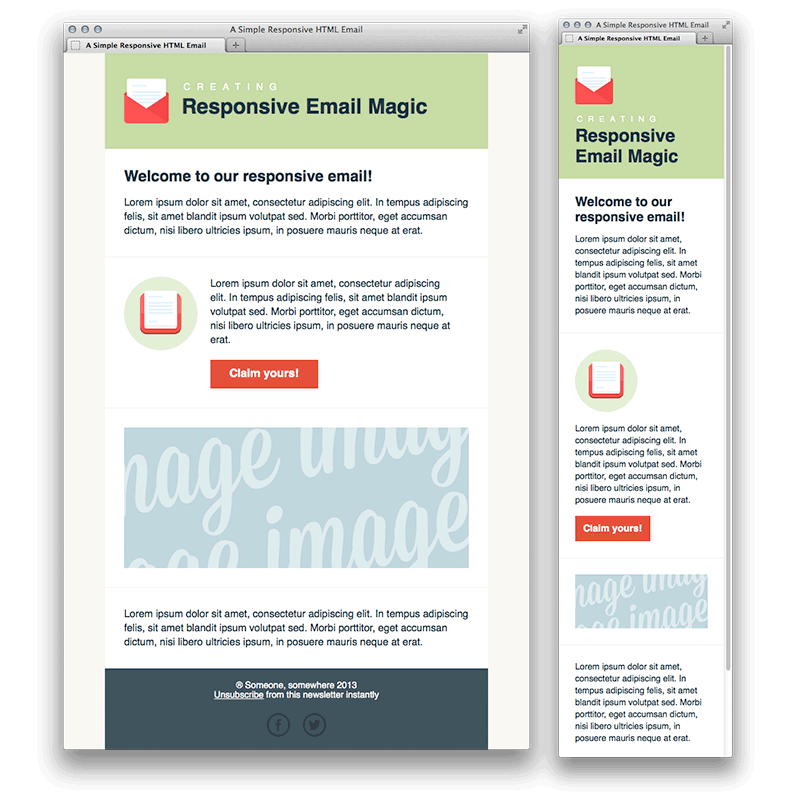 templates de newsletters: simple responsible newsletter