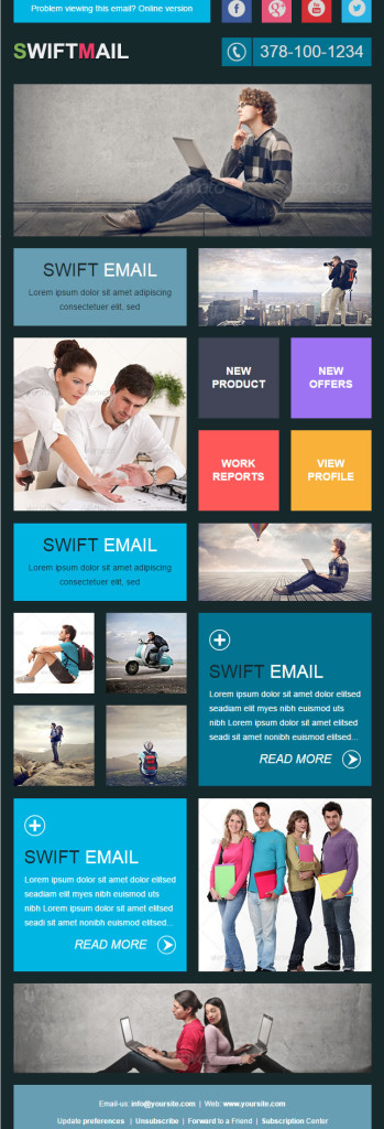 templates de newsletters: swift