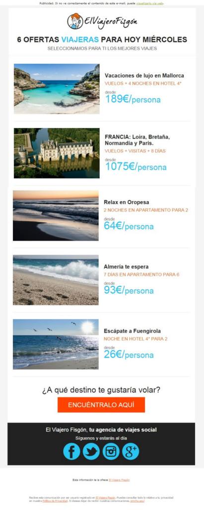 ejemplos de campañas exitosas de email marketing: El viajero fisgón