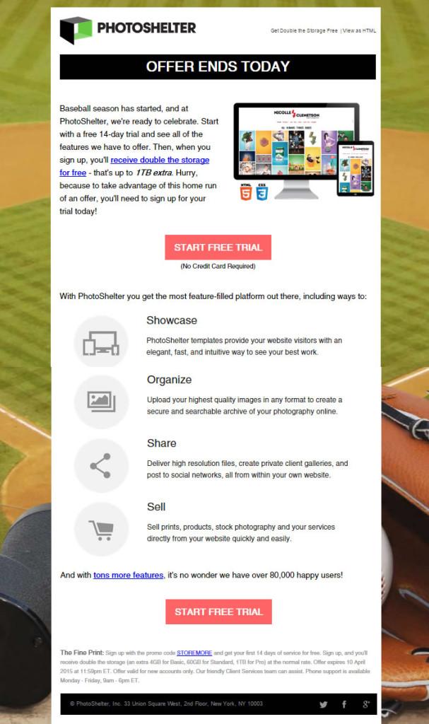 newsletters que convierten: Photoshelter