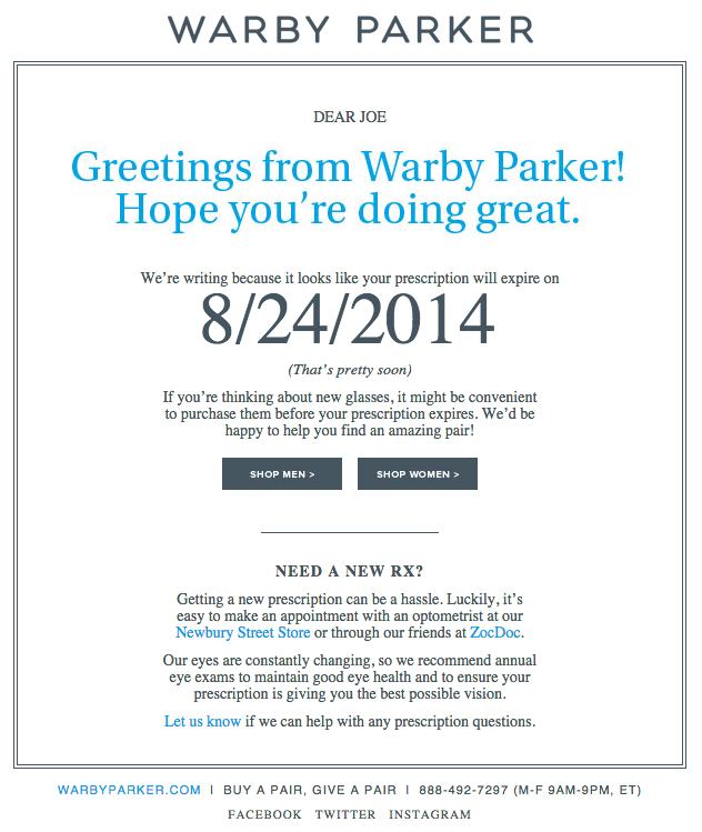 ejemplos de campañas exitosas de email marketing: Warby Parker