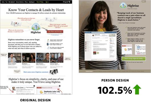 Highrise conversión de landing pages con fotos de personas