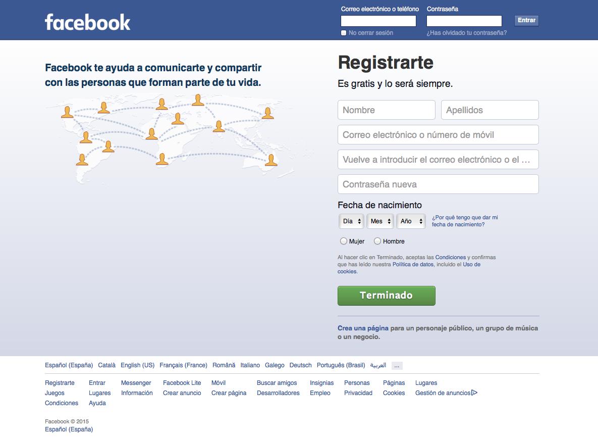 formulario de registro en Facebook