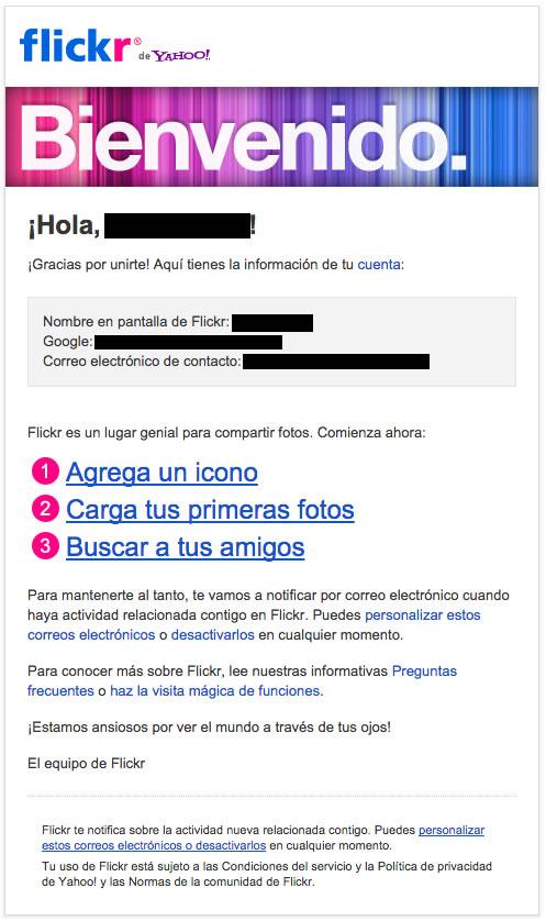 emails de bienvenida : Flickr