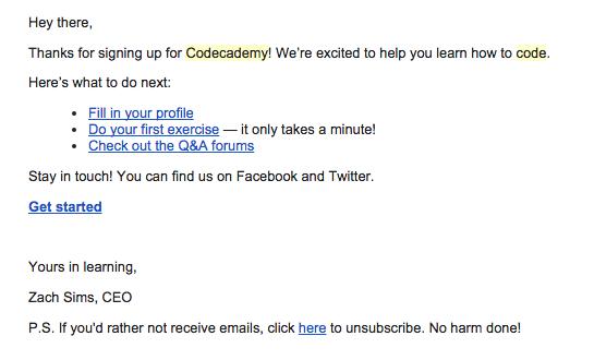 emails de confirmación : Code Academy