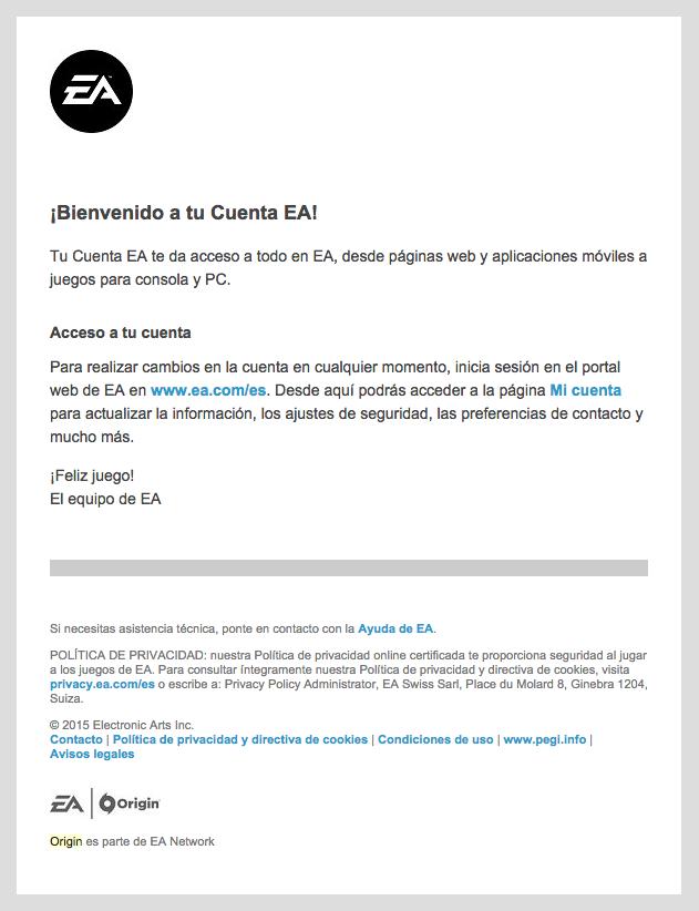 emails de confirmación : EA