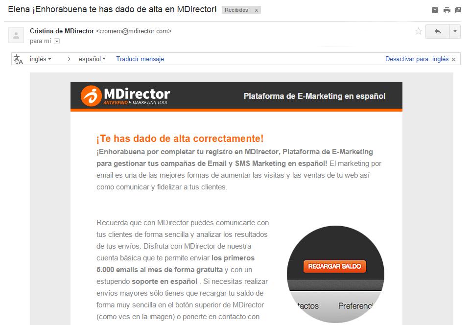 emails de bienvenida : MDirector
