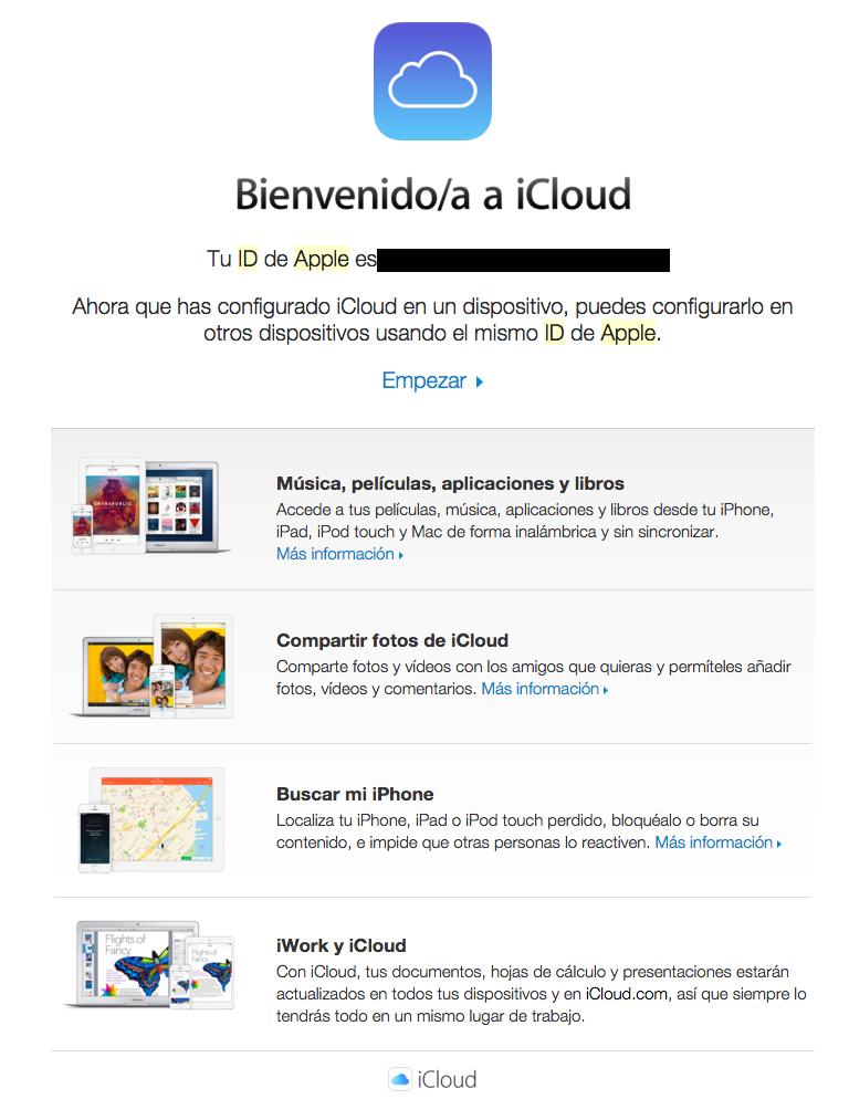 emails de confirmación : iCloud