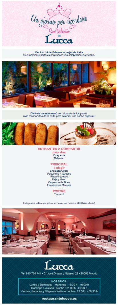 newsletters de restaurantes: Lucca