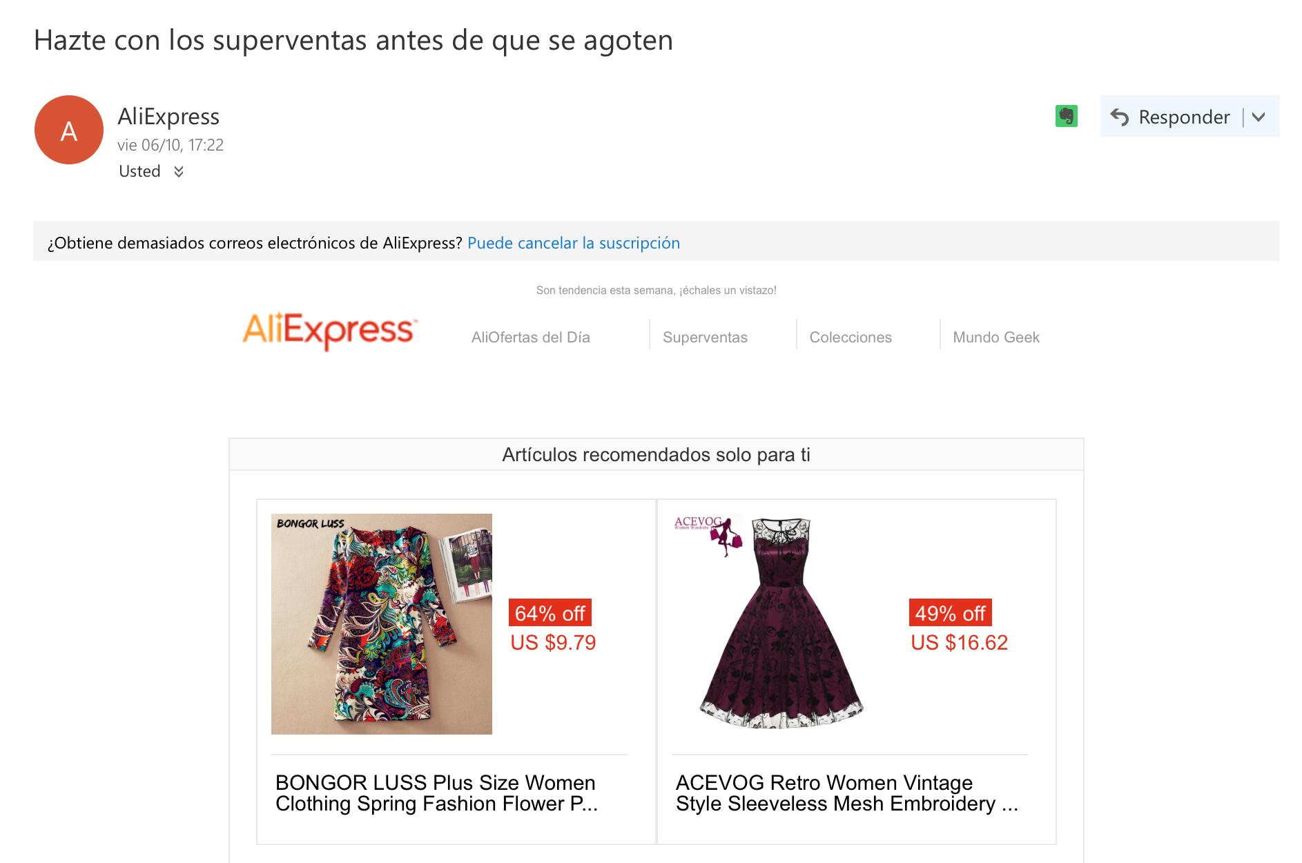 ejemplos de asuntos de email: AliExpress