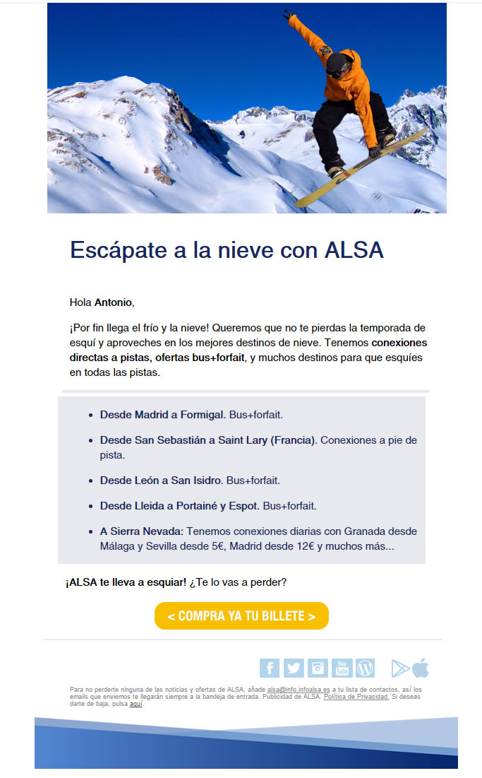 newsletter con redes sociales
