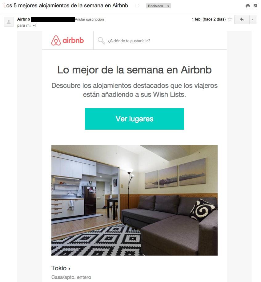ejemplos de asuntos de email : AirBnb