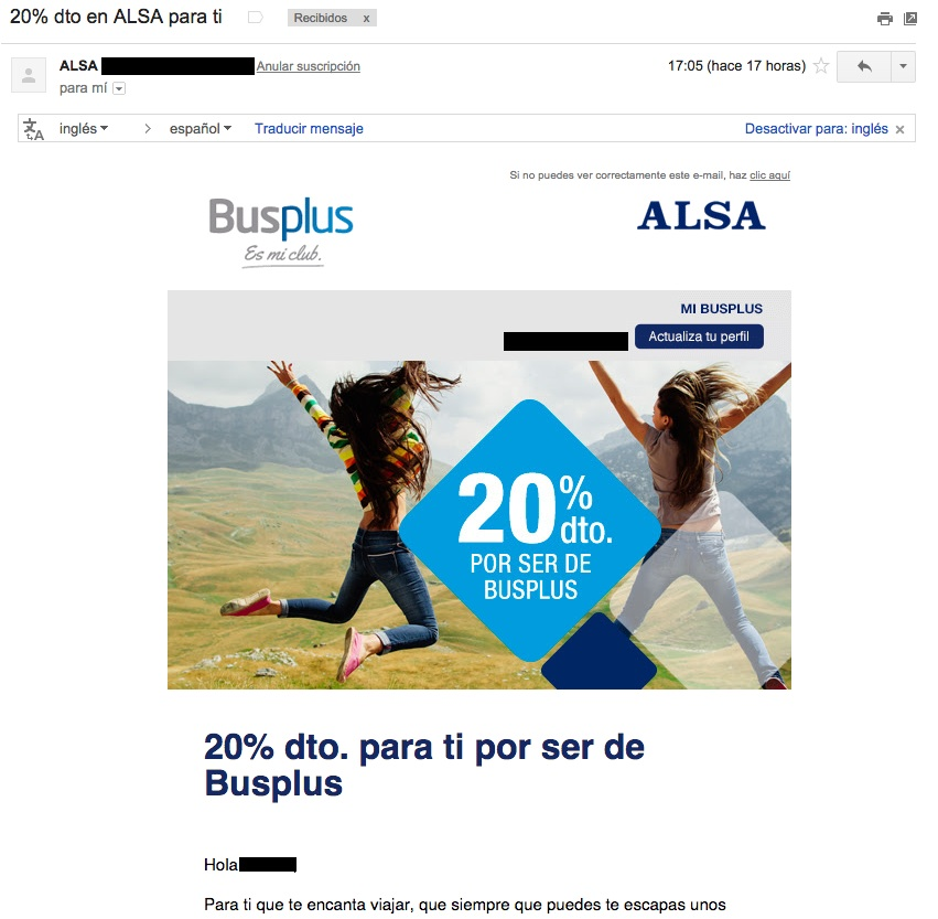 ejemplos de asuntos de email : Alsa