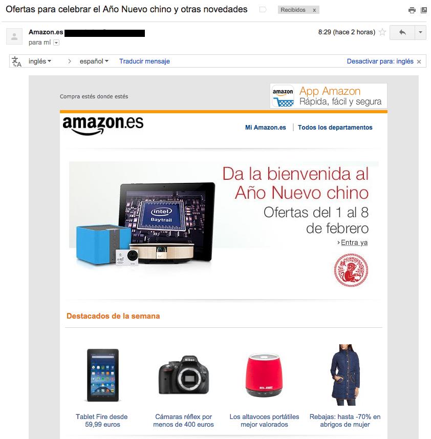ejemplos de asuntos de email : Amazon