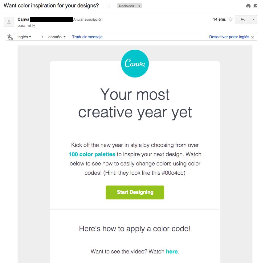 ejemplos de asuntos de email : Canva