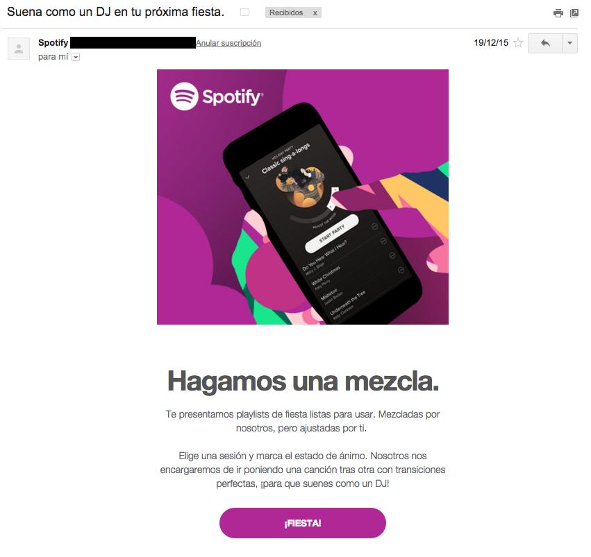 ejemplos de asuntos de email : Spotify