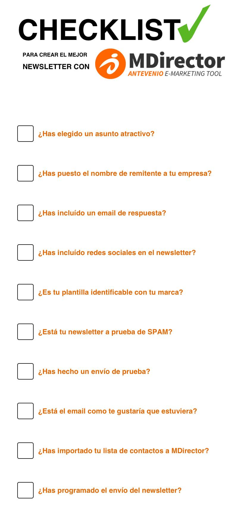 Checklist para Crear un newsletter con MDirector
