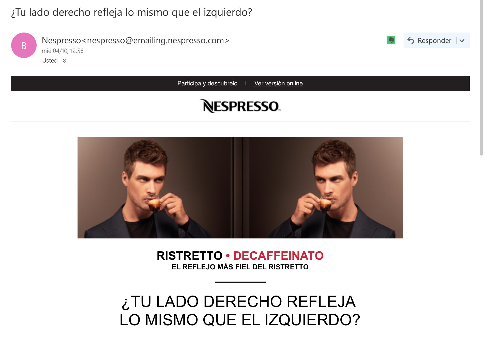 ejemplos de asuntos de email: Nespresso