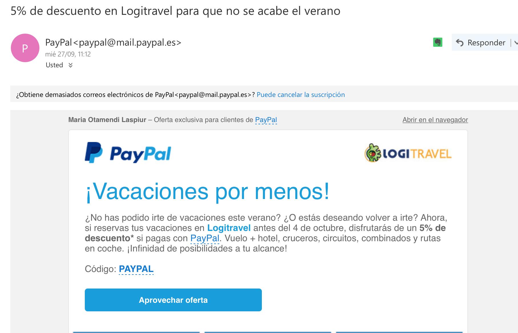 ejemplos de asuntos de email: Paypal