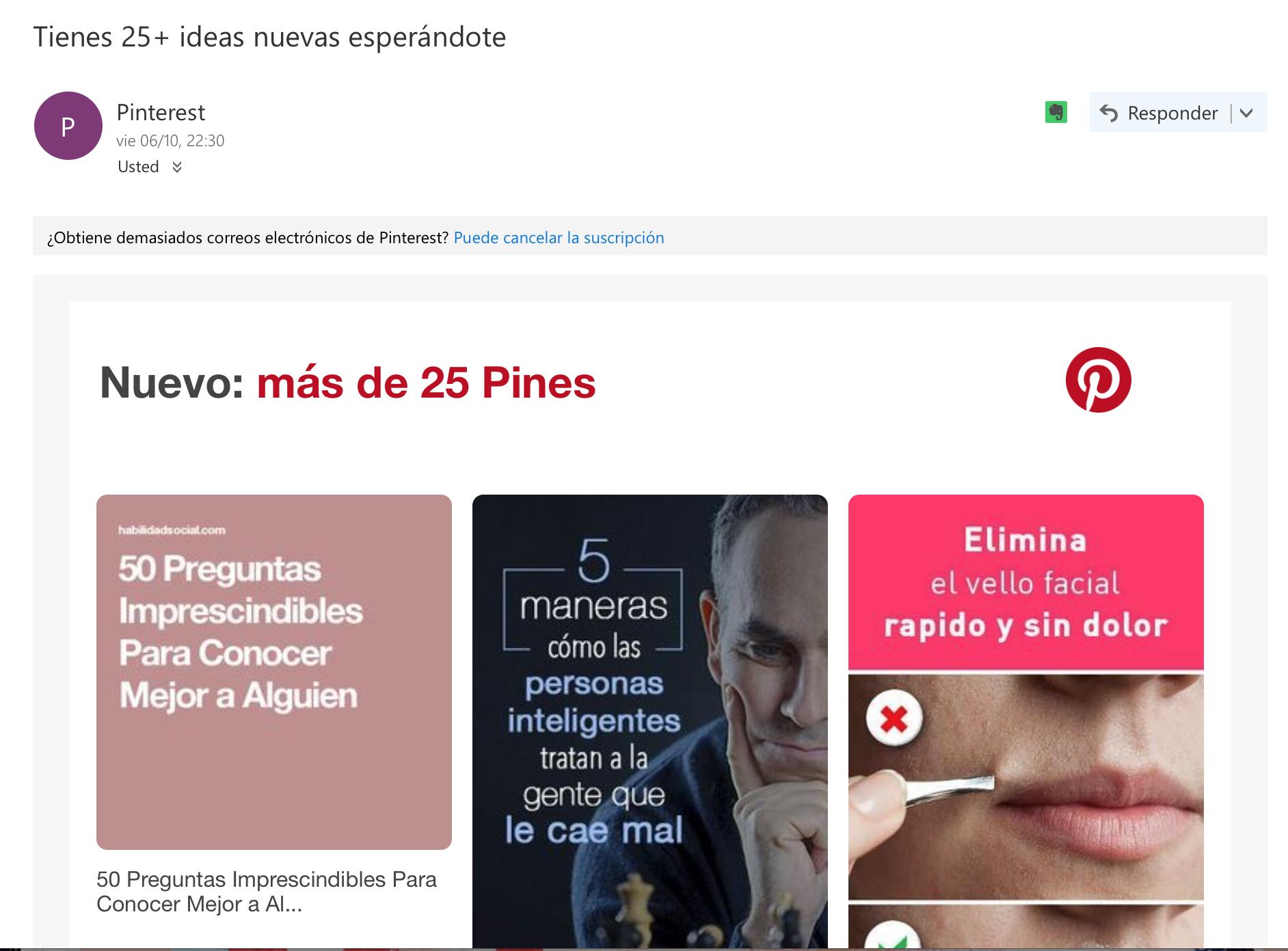ejemplos de asuntos de email: Pinterest