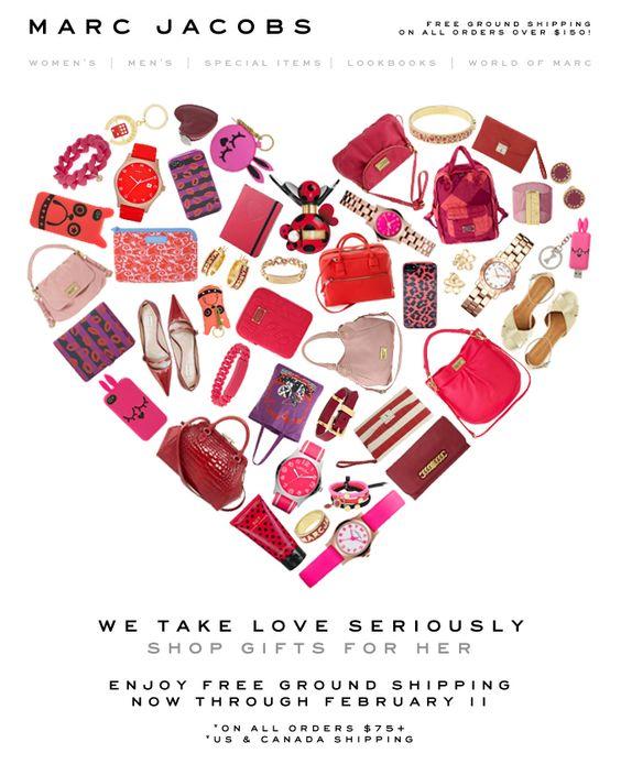 ejemplos de newsletters para San Valentín : Marc Jacobs