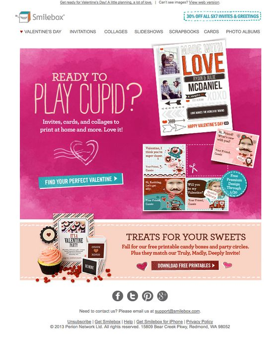 ejemplos de newsletters para San Valentín :