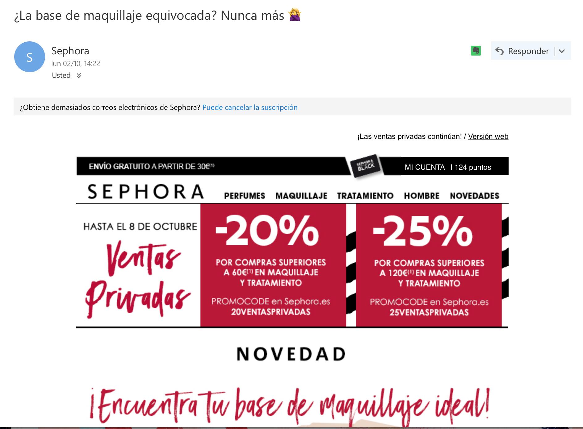ejemplos de asuntos de email: Sephora