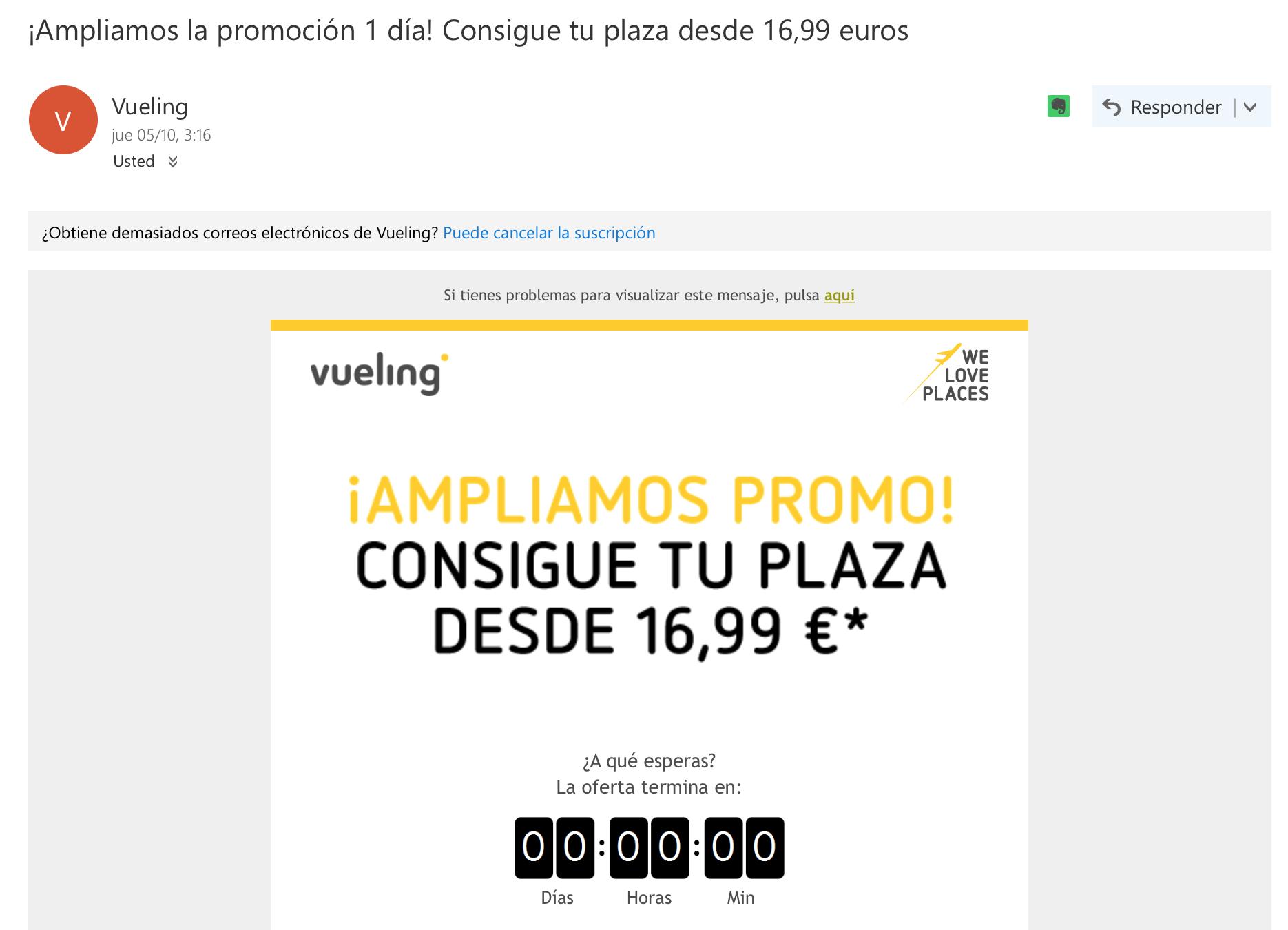 ejemplos de asuntos de email: Vueling