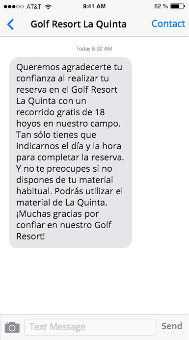 SMS marketing Golf Resort La Quinta