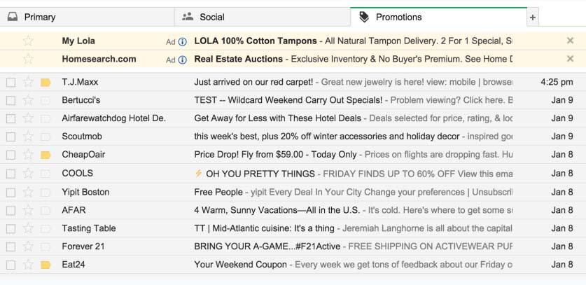Tab Promos de Gmail