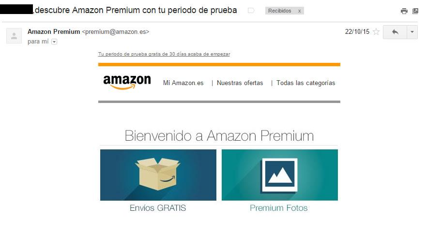 asunto de email Amazon