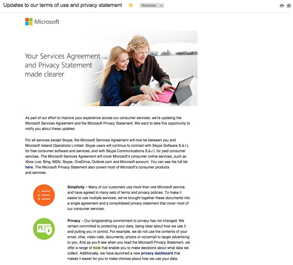 asuntos para aumentar las aperturas de emails . Microsoft