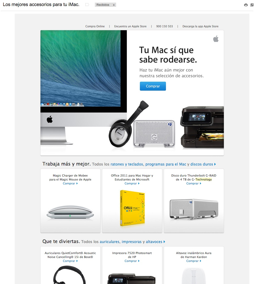 asuntos para aumentar las aperturas de emails : Apple