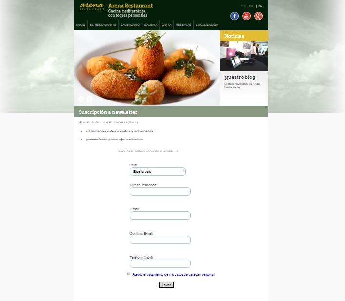 suscripción a la newsletter de un restaurante