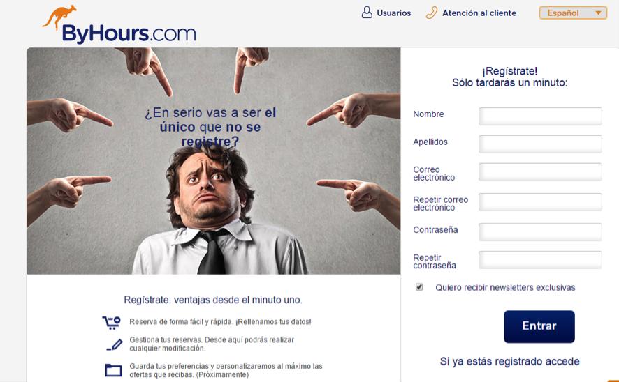 landing page de registro de un ecommerce : ByHours