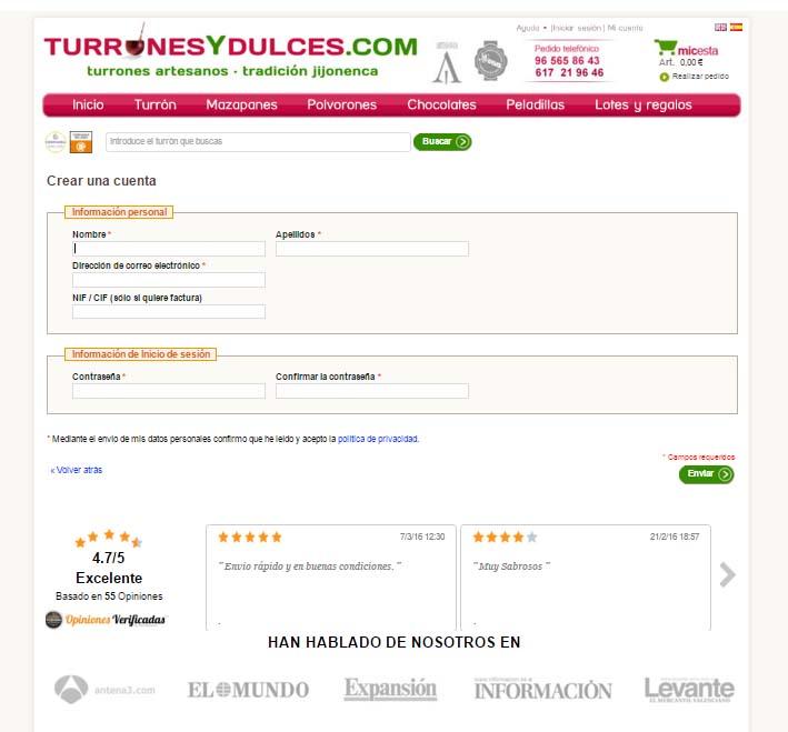 landing page de registro de un ecommerce : turronesydulces.com