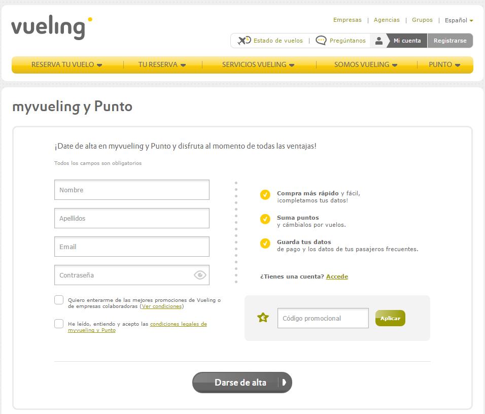 landing page de registro de un ecommerce : Vueling
