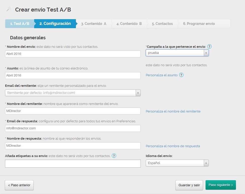 Cómo crear email Test A/B con MDirector Paso 2