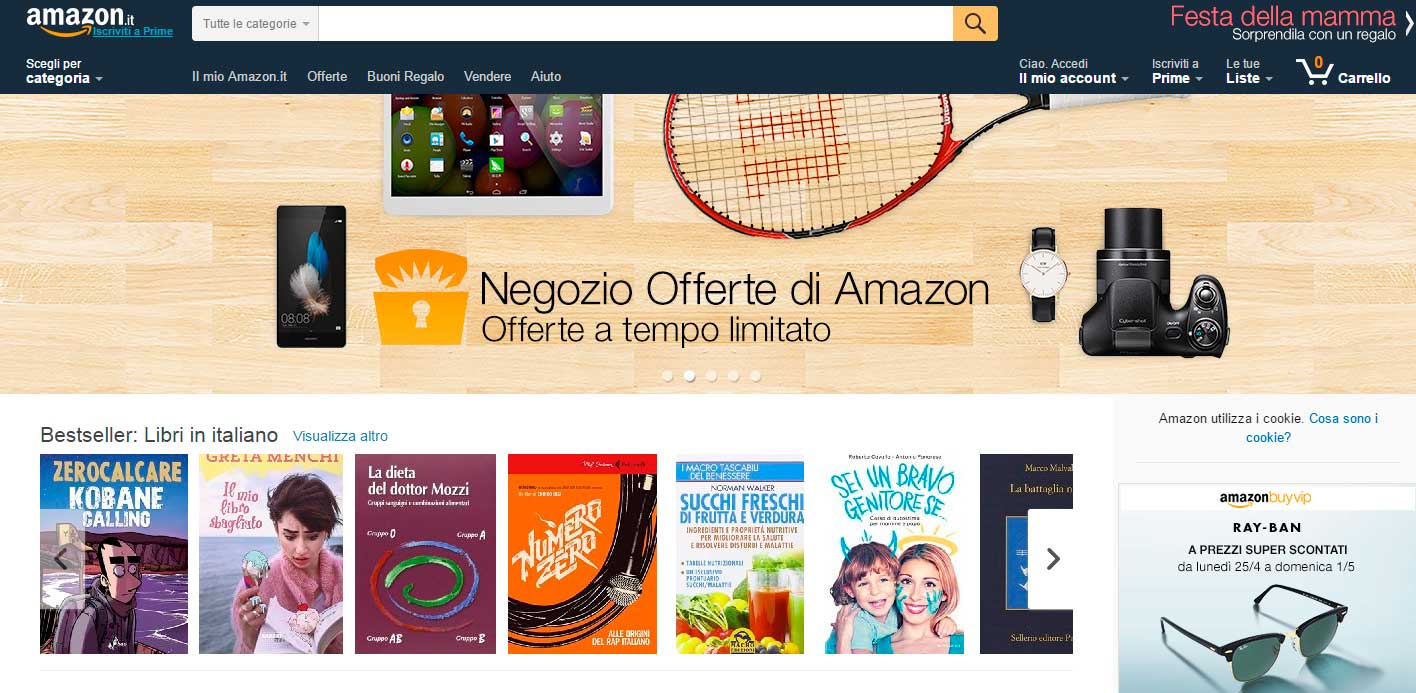 landing page orientate alla vendita: amazon